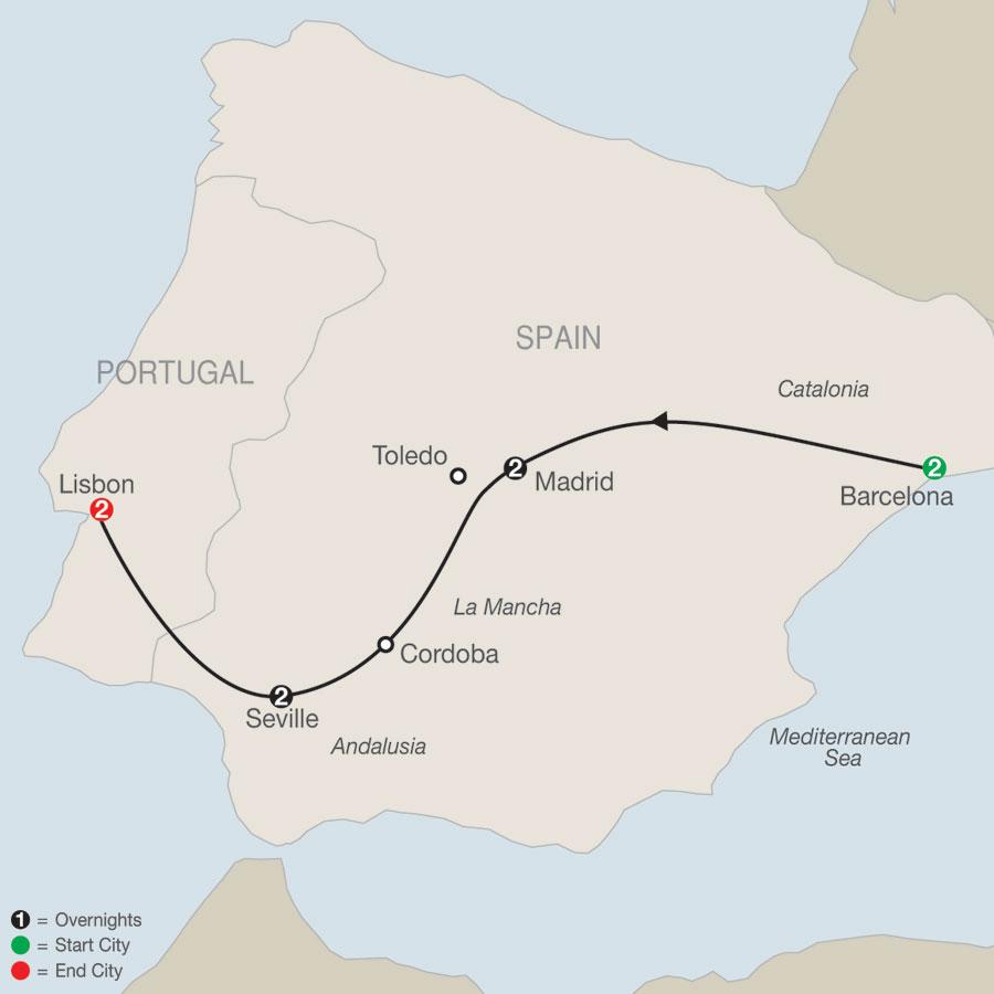 Spain & Portugal Escape map