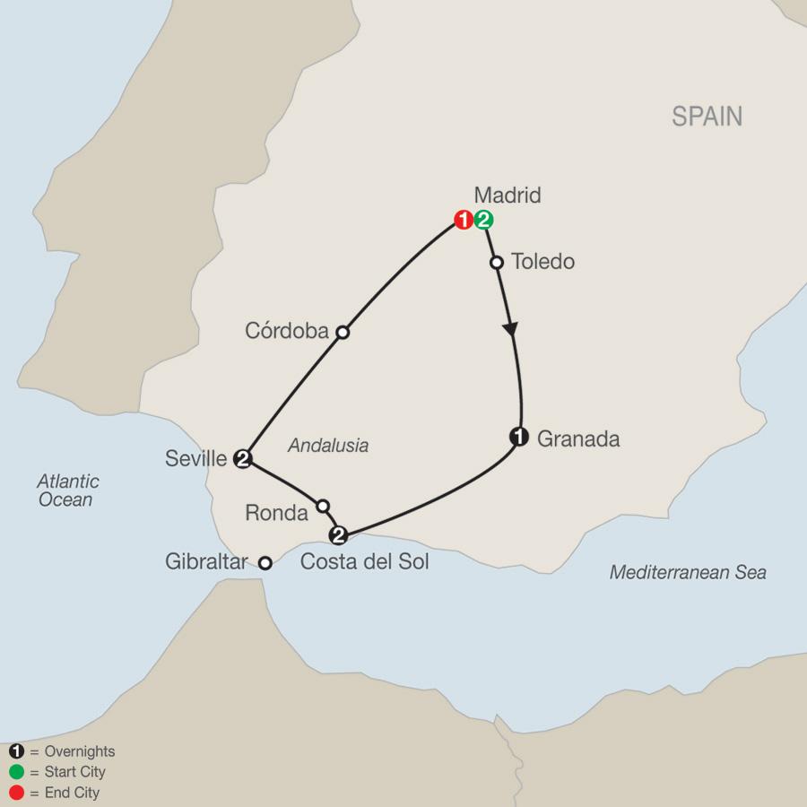 Southern Spain Escape map