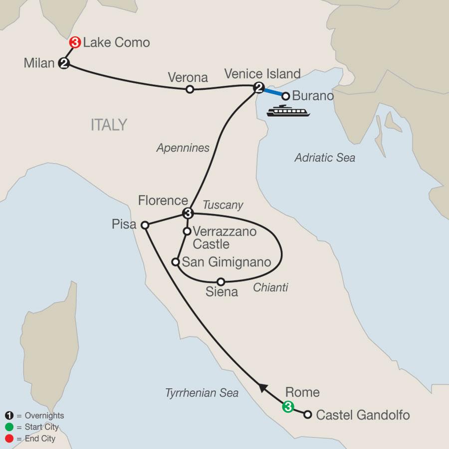 Italian Highlights with Lake Como map