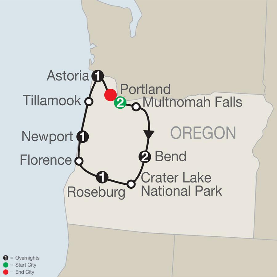 Oregon's Coast, Cascades & Craft Beers map