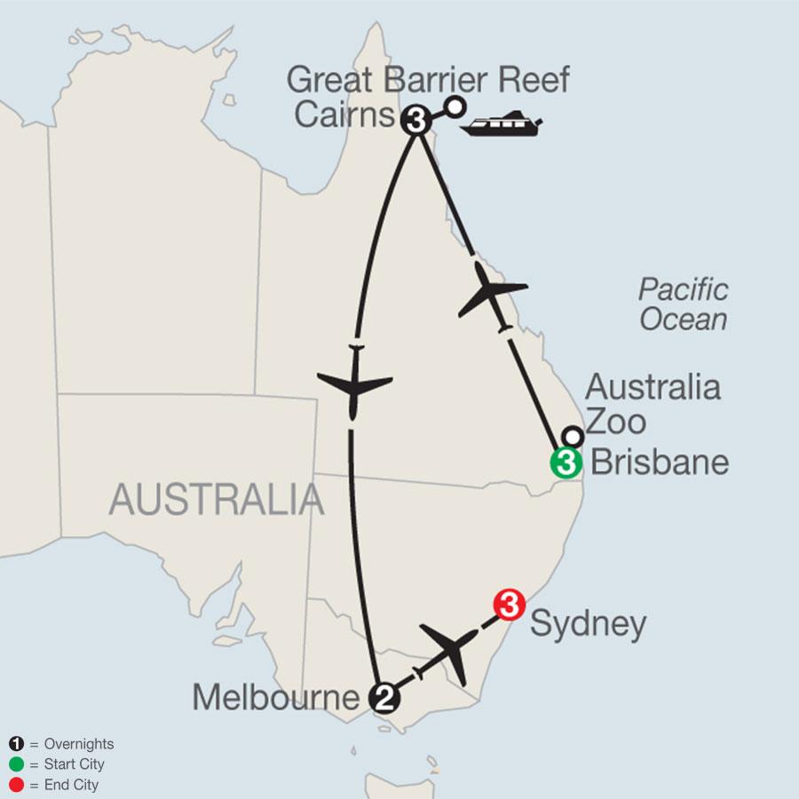 Great Sights of Australia map