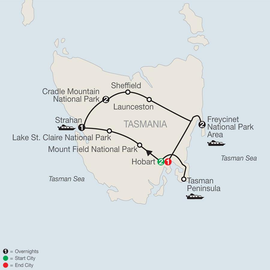 Wild Tasmania map