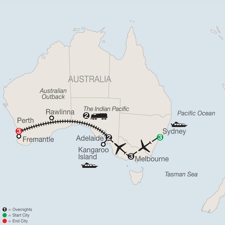 Across Australia on the Historic Indian Pacific Train map