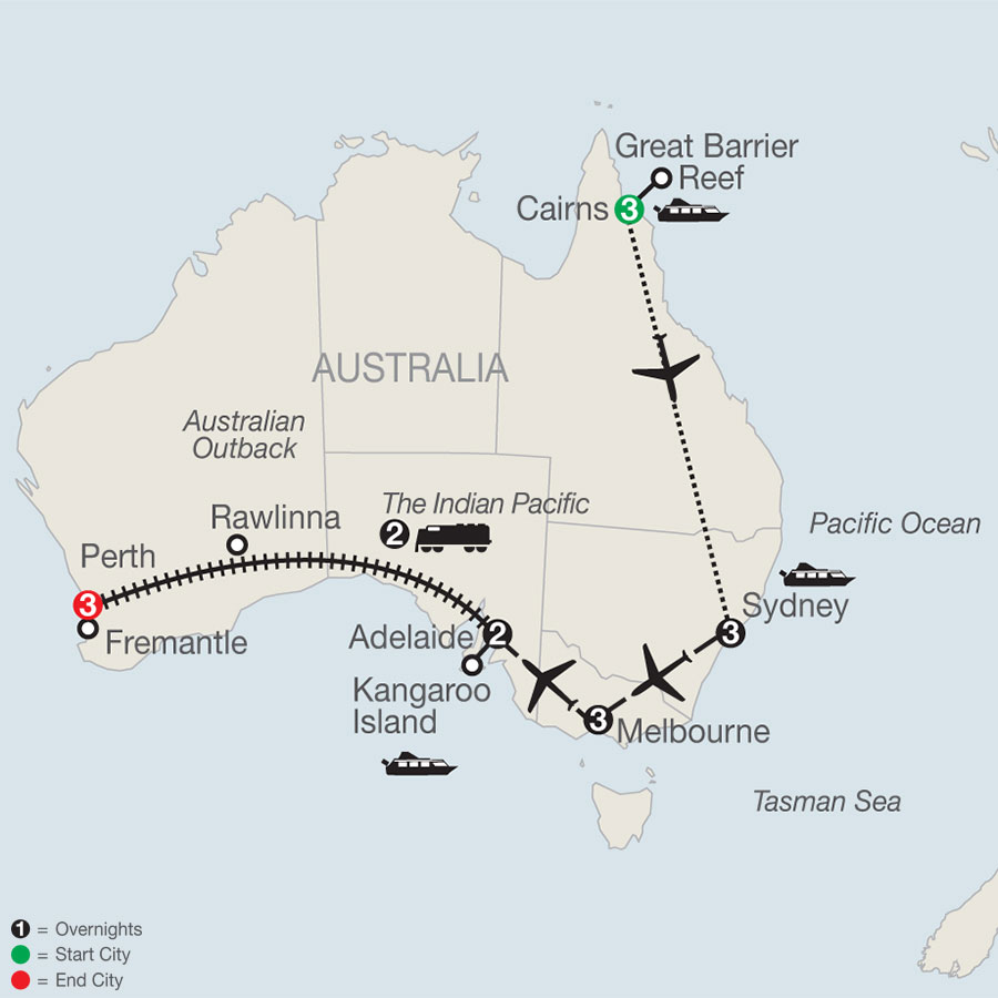 Across Australia on the Historic Indian Pacific Train with the Great Barrier Reef map