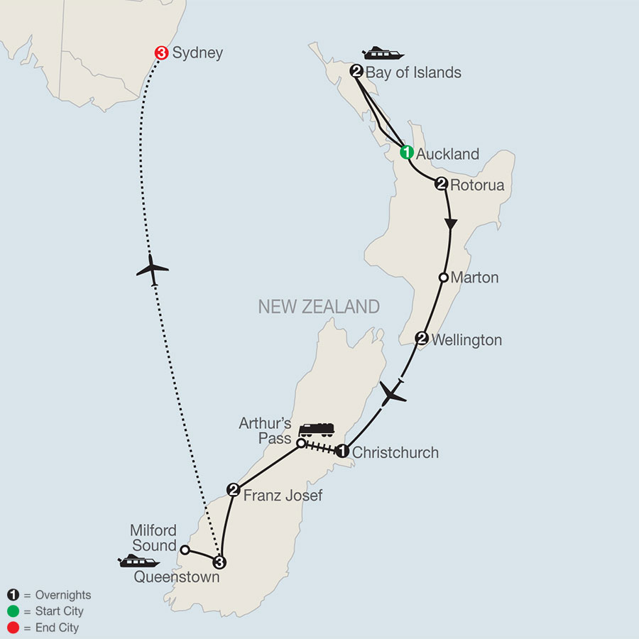 Best of New Zealand  with Sydney map