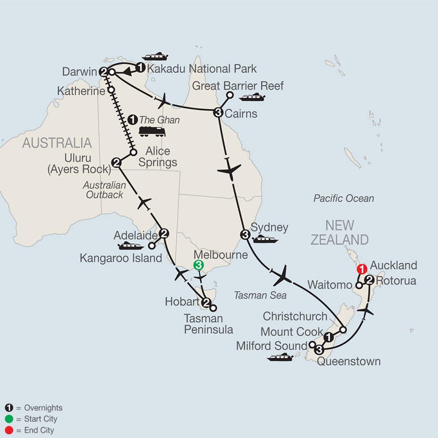 Great Adventure Down Under with the Legendary Ghan Train map