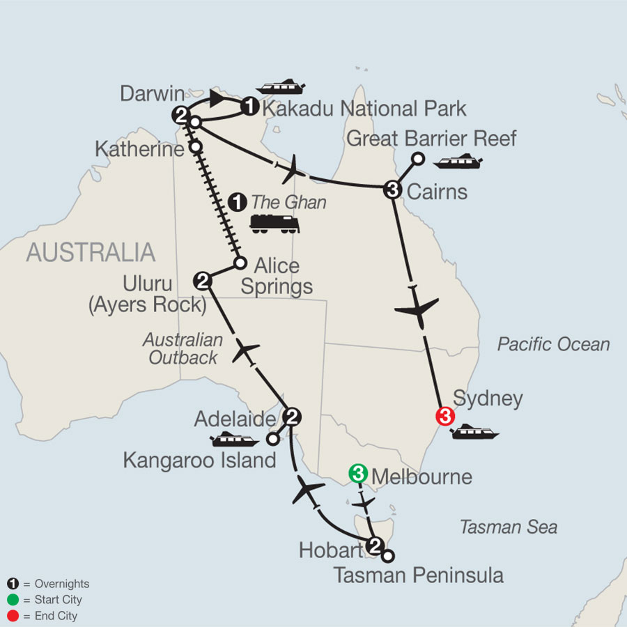 Exploring Australia with the Legendary Ghan Train map