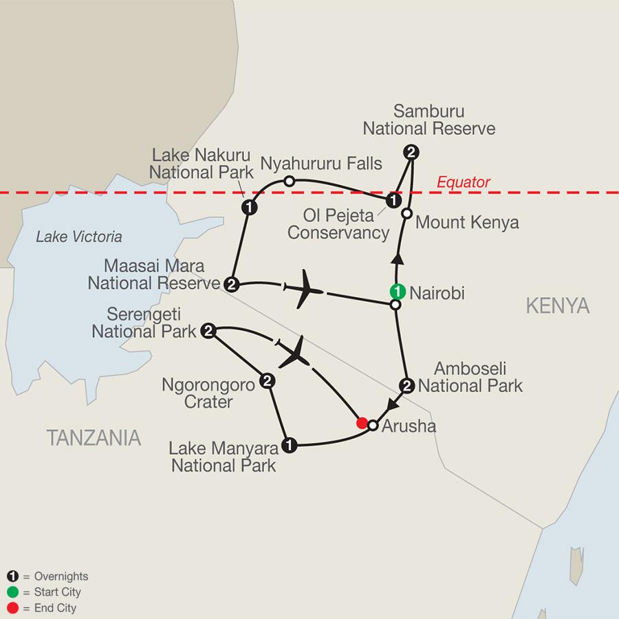 Kenya & Tanzania: The Safari Experience map
