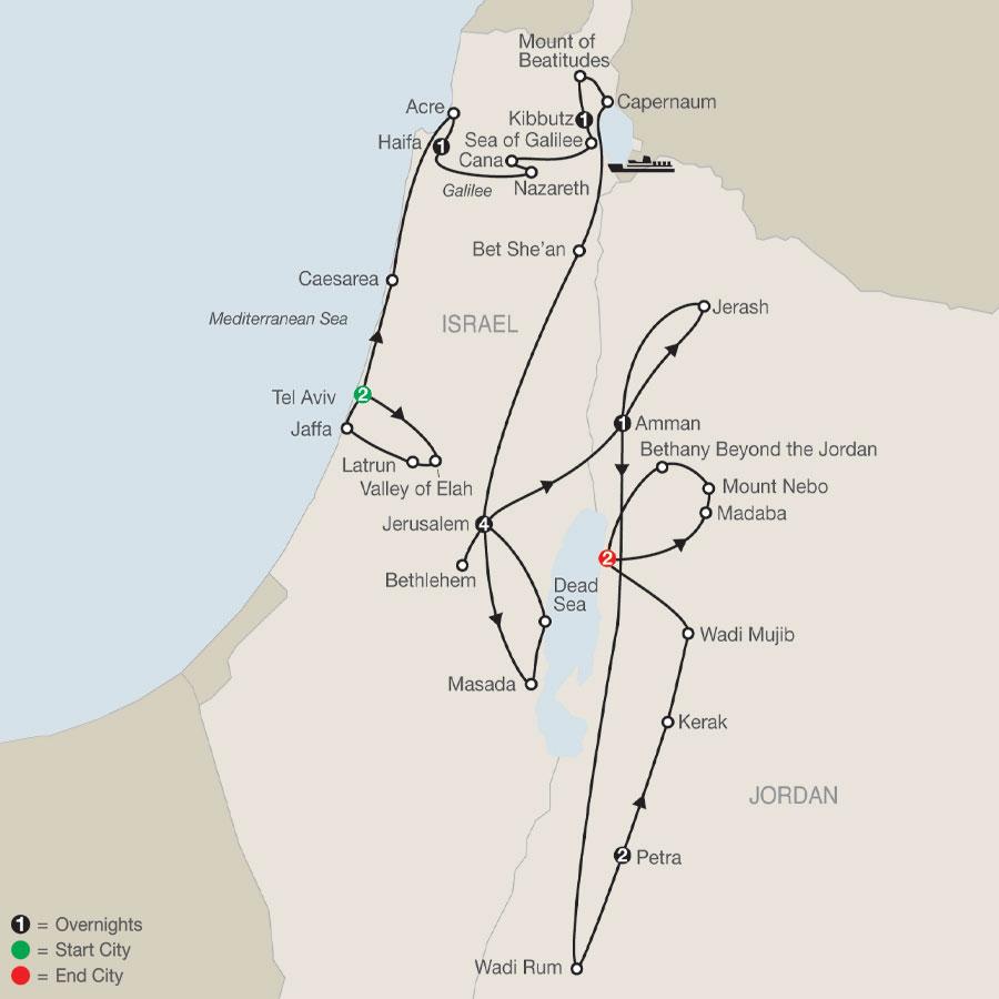 Israel & Wonders of Jordan map
