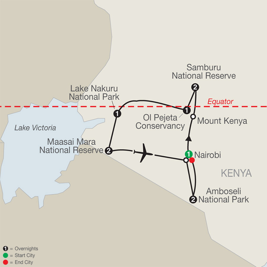 Kenya: A Classic Safari with Amboseli map