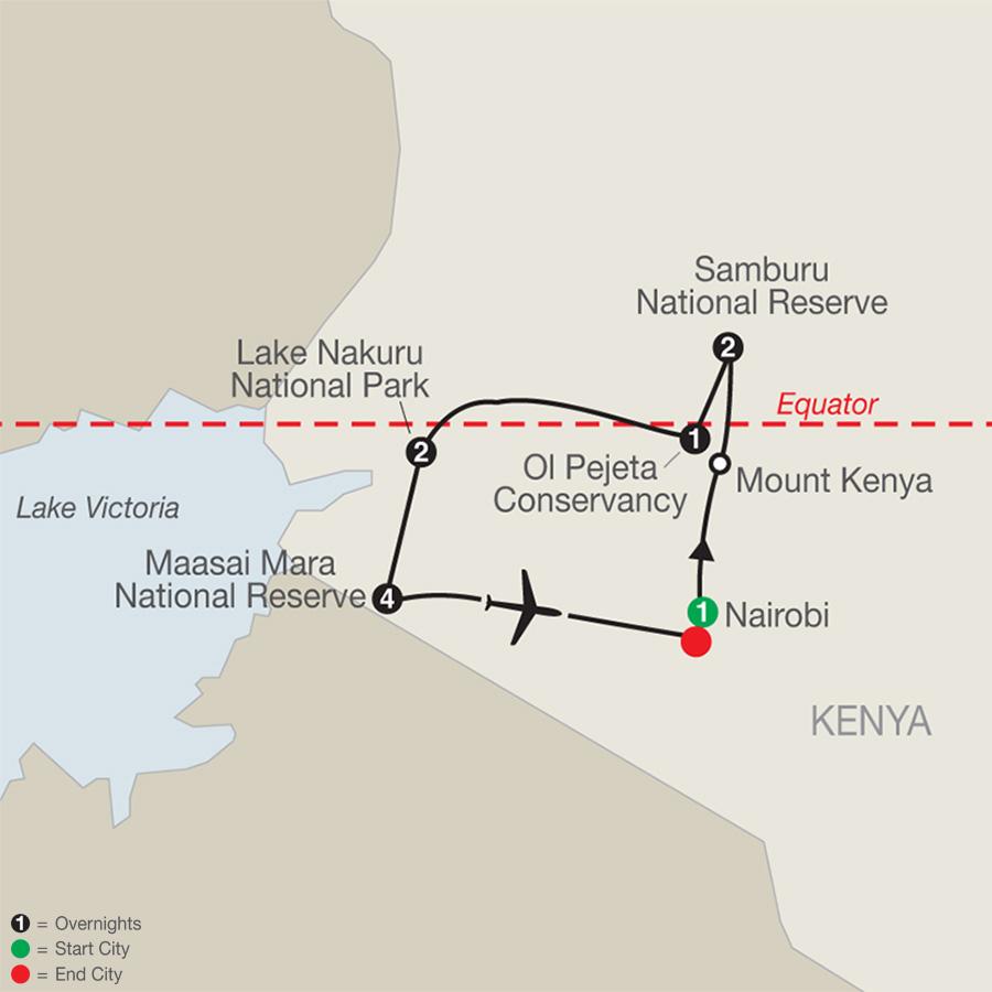 Kenya: A Classic Safari with Stay in  Maasai Mara map