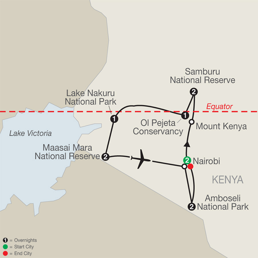 Kenya: A Classic Safari with Nairobi & Amboseli map