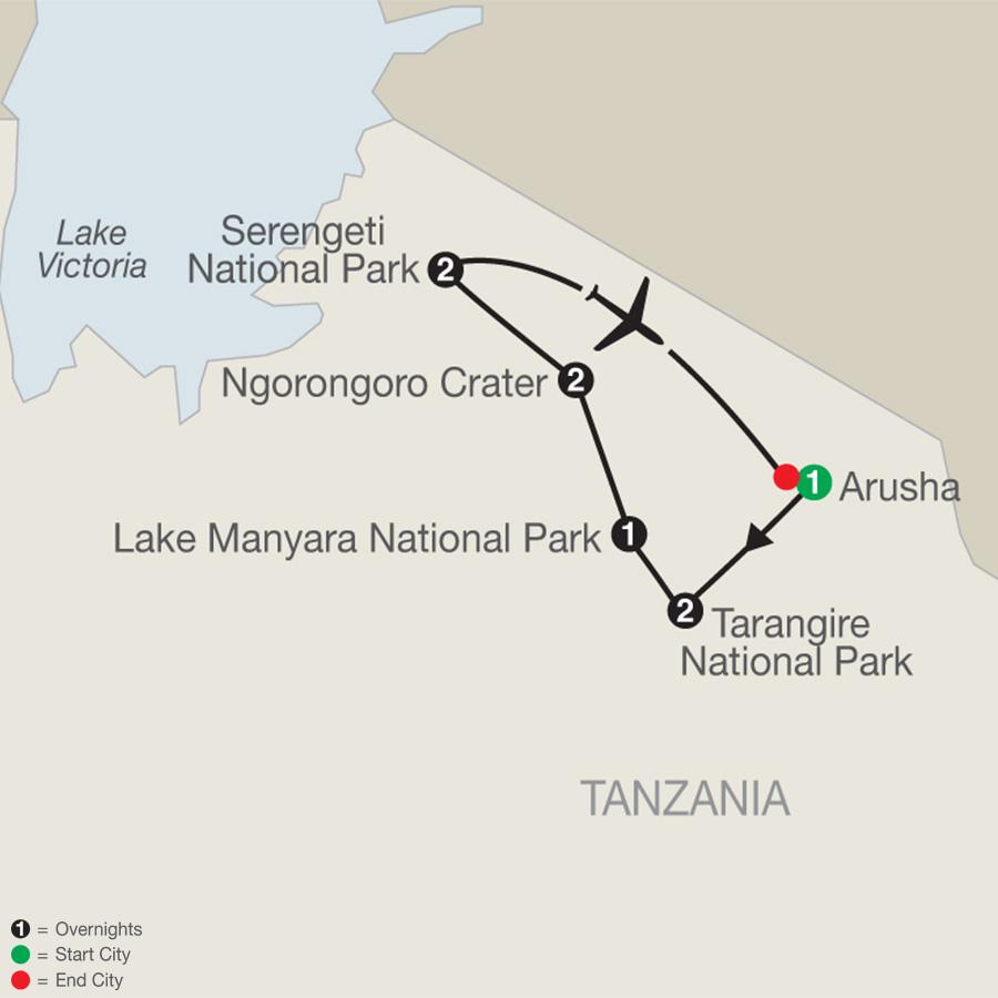 Tanzania: The Serengeti & Beyond map