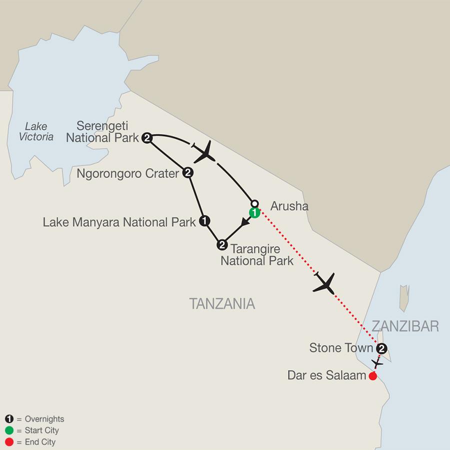 Tanzania: The Serengeti & Beyond with Zanzibar - Stone Town map