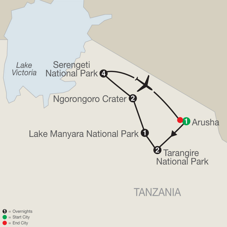 Tanzania: The Serengeti & Beyond with Stay in Serengeti map