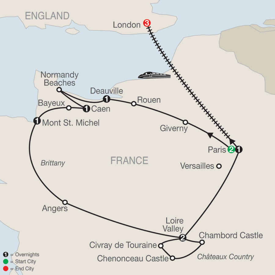 Normandy, Brittany & Châteaux Country with London map