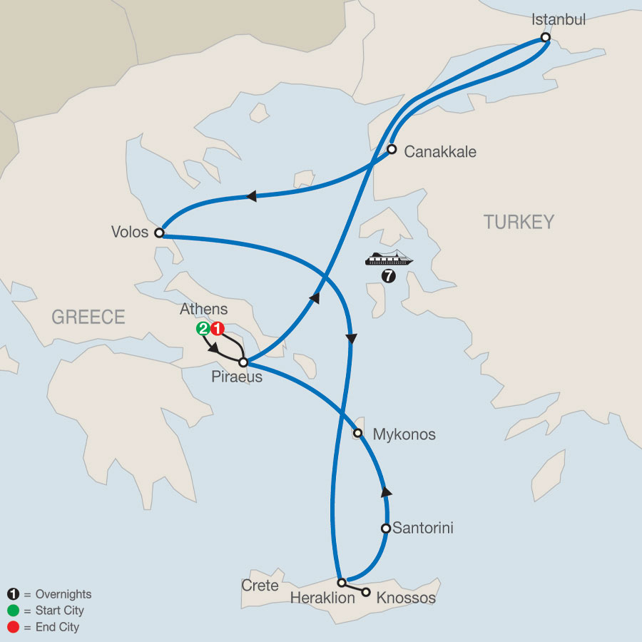 Eclectic Aegean with 7-Night Cruise map