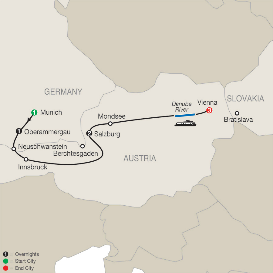 Munich, Salzburg & Vienna with Oberammergau map