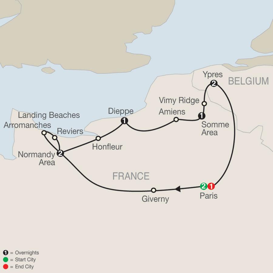 Great Canadian War Memorial Tour map