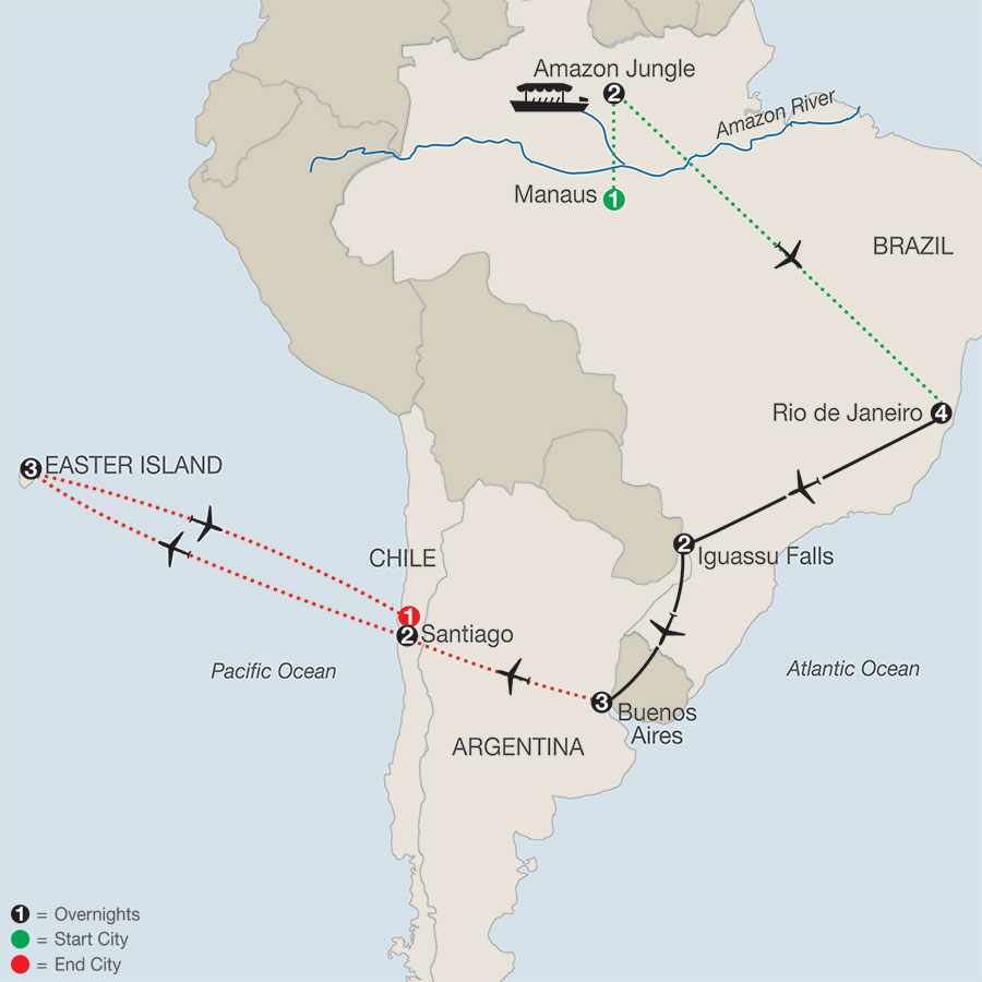South America Getaway with Amazon, Santiago & Easter Island