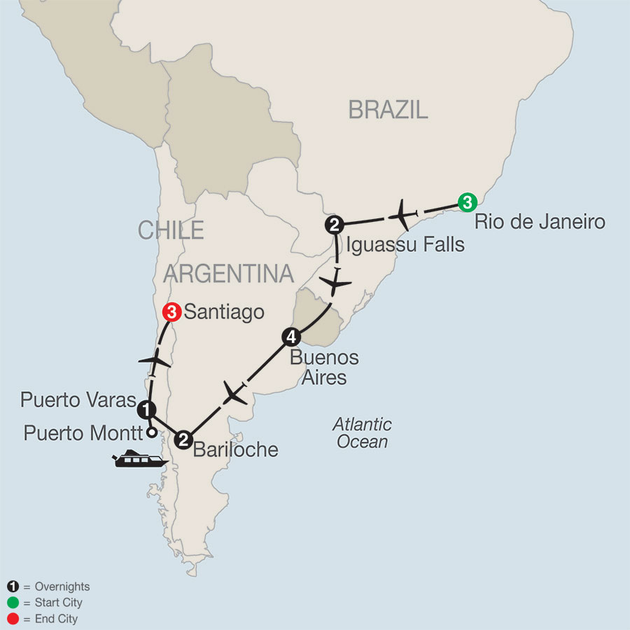 South American Odyssey map