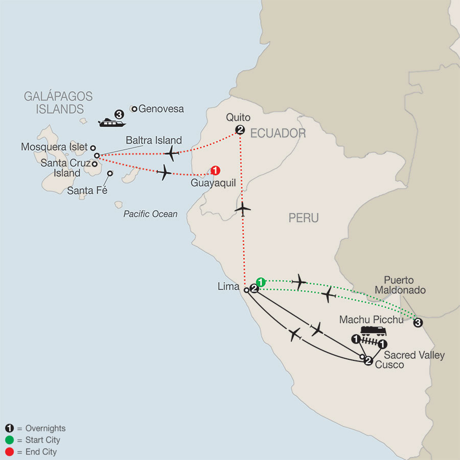 Peru Splendors with Peru's Amazon & Galápagos Cruise map