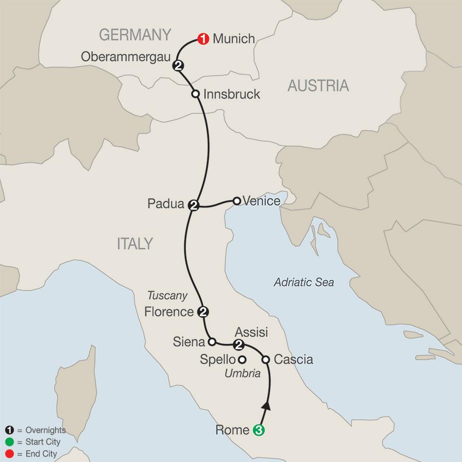 Grand Catholic Italy with Oberammergau–Faith–Based Travel map
