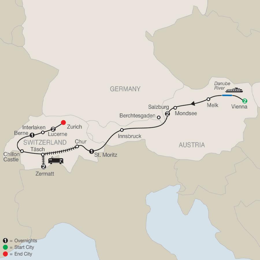 The Best of Austria & Switzerland map