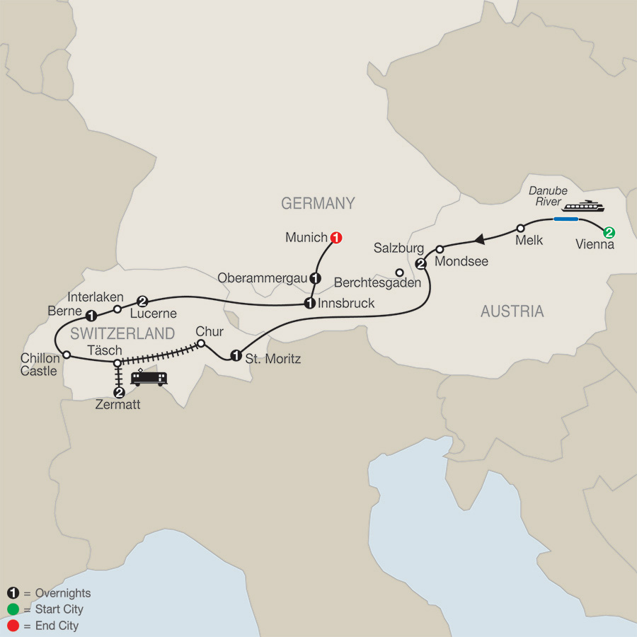 The Best of Austria & Switzerland with Oberammergau map