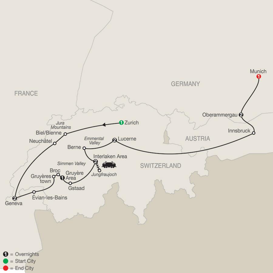 Spectacular Switzerland with Oberammergau map
