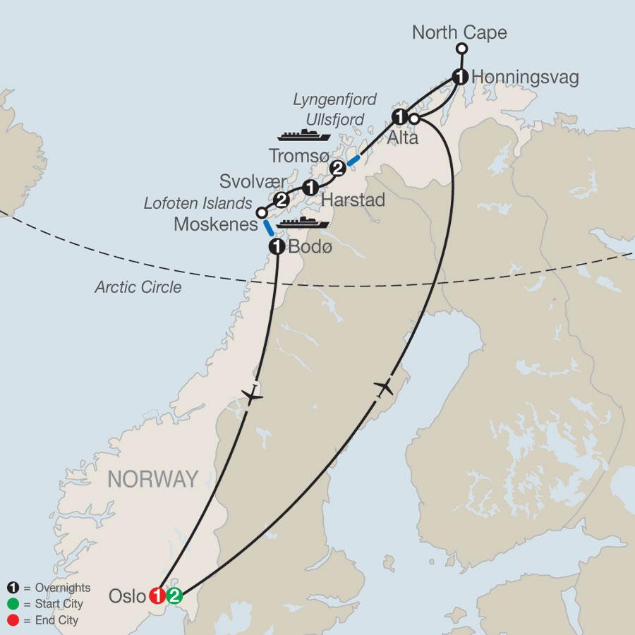 Land of Midnight Sun & Lofoten Islands map