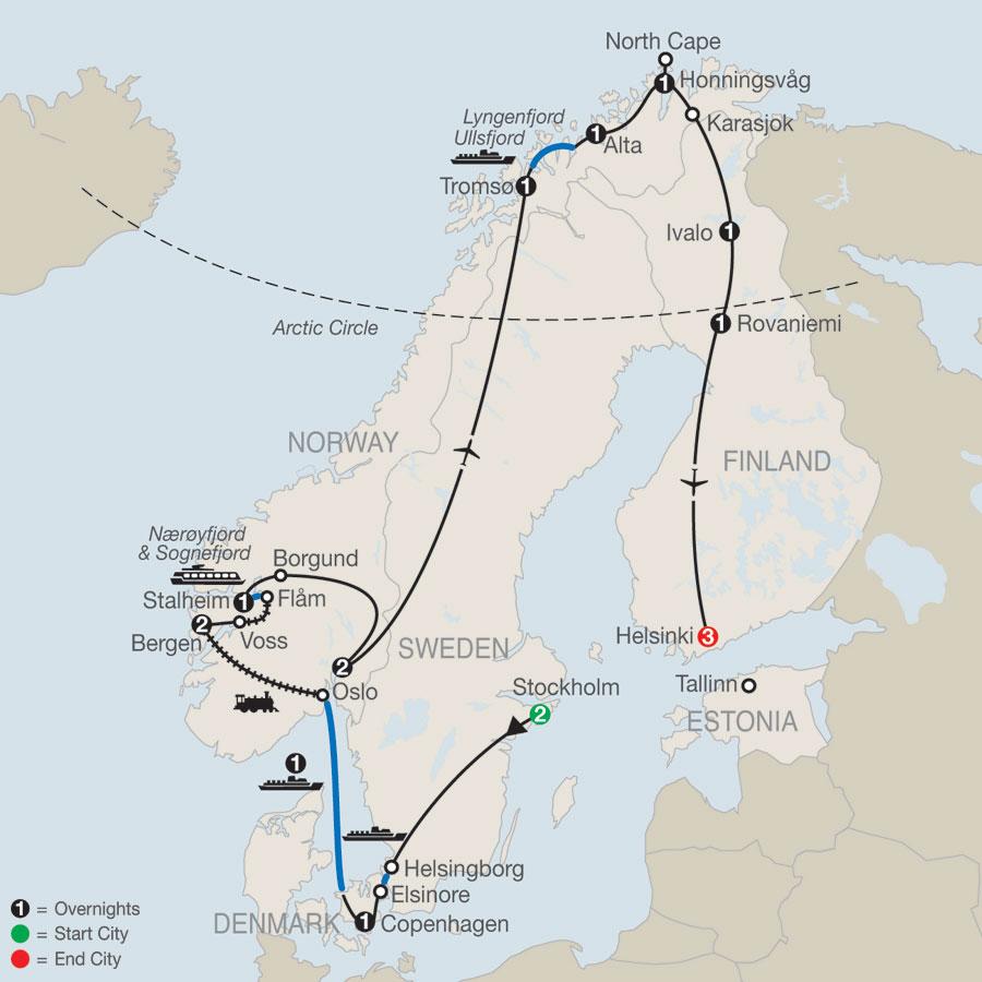 The Grand Scandinavian Circle Tour map