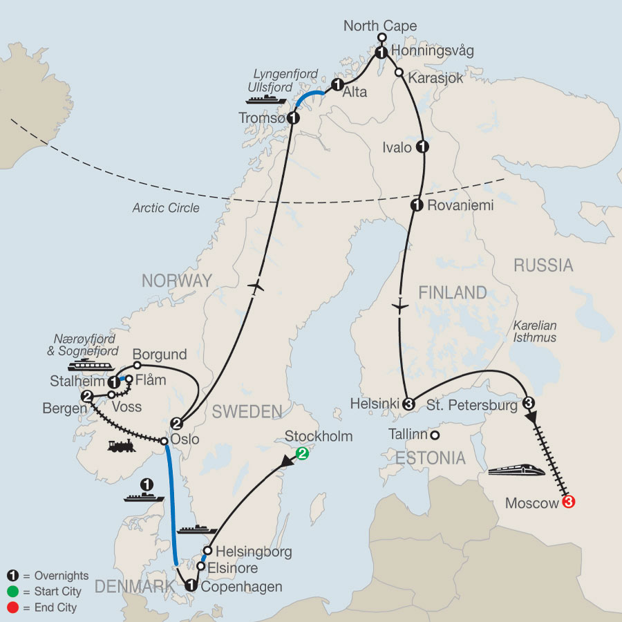 The Grand Scandinavian Circle Tour  with St. Petersburg & Moscow