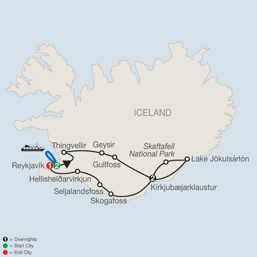 Gems of Iceland with Northern Lights map