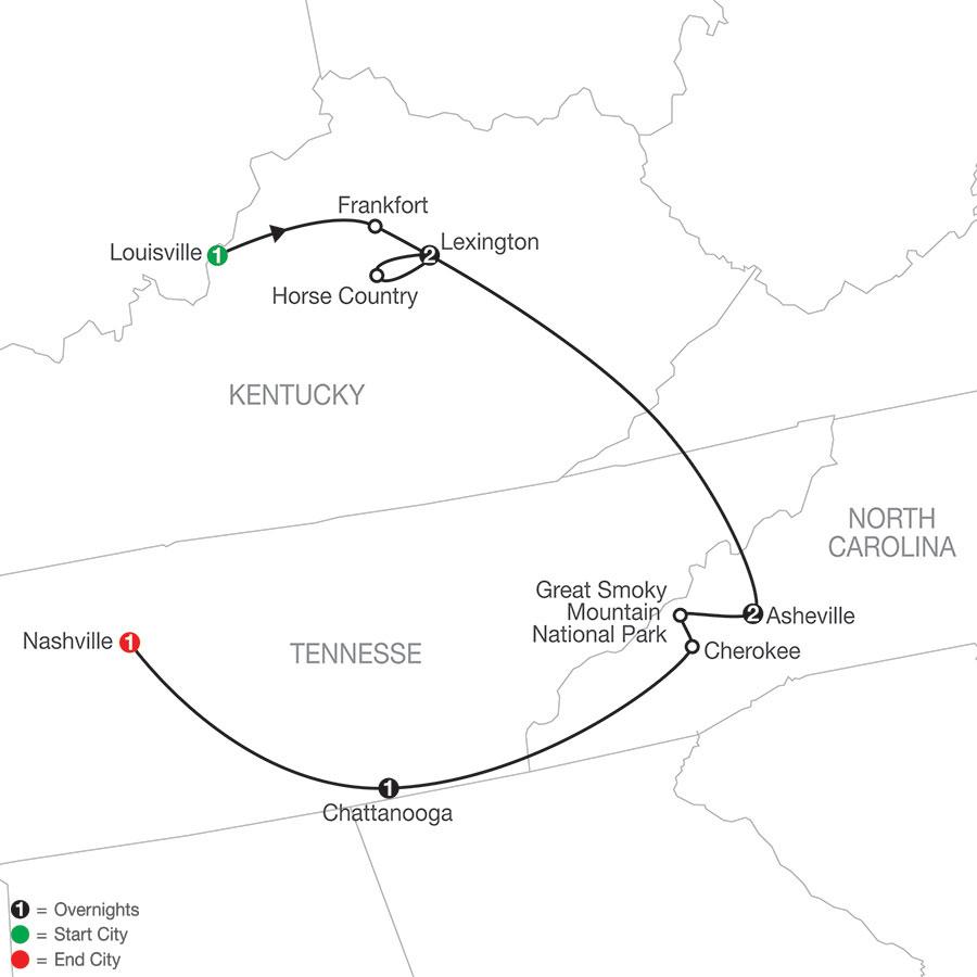 Bourbon, Bridles & Bluegrass map
