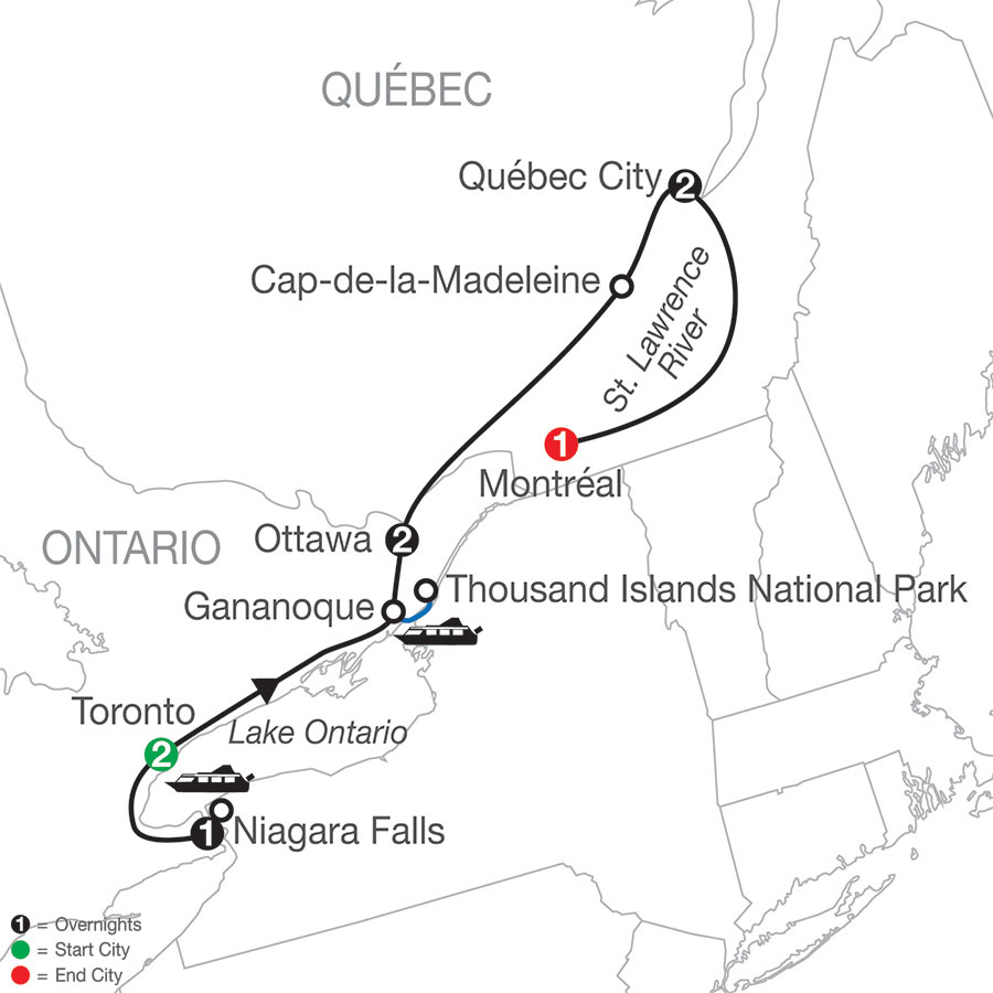 Historic Cities of Eastern Canada map
