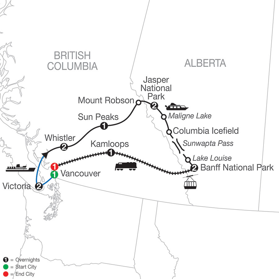 Majestic Rockies with the Rocky Mountaineer map