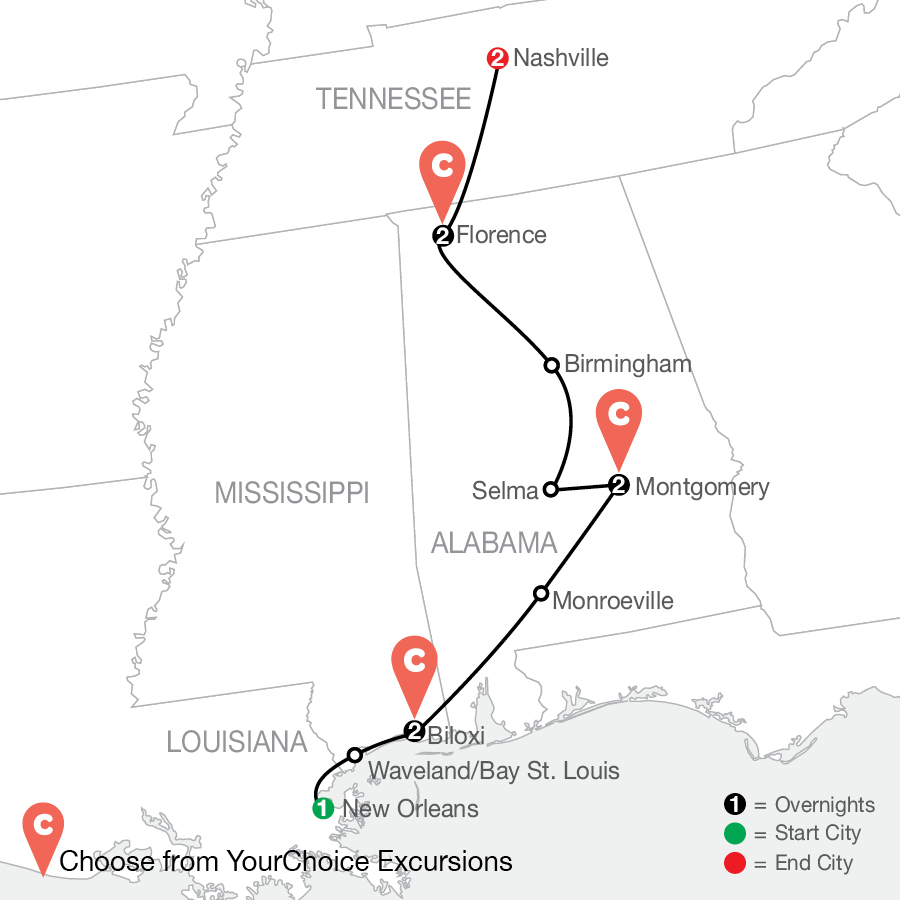 Boogie & Blues: The Southern U.S. By Design, PLUS Nashville map
