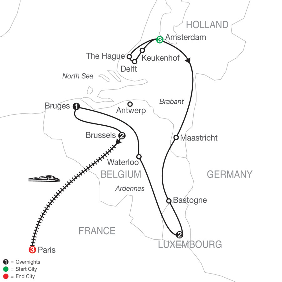 Holland, Luxembourg & Belgium with Paris map