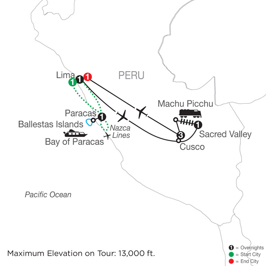 Peru Escape with Nazca Lines map