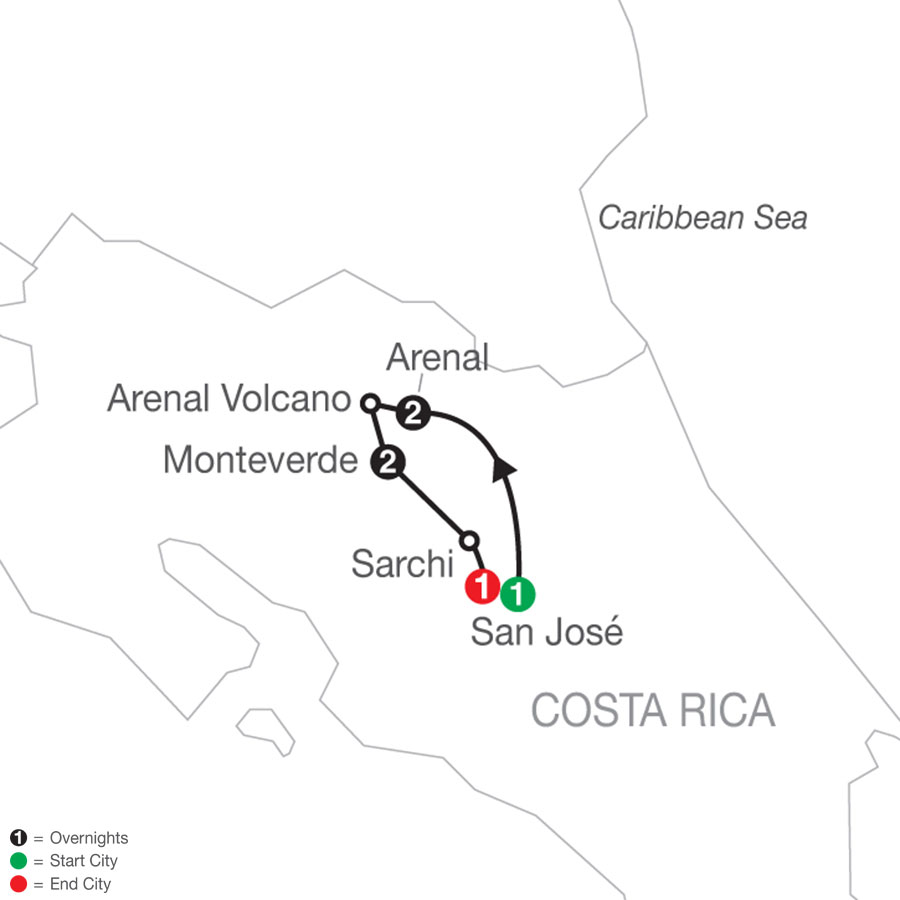 Costa Rica Escape map