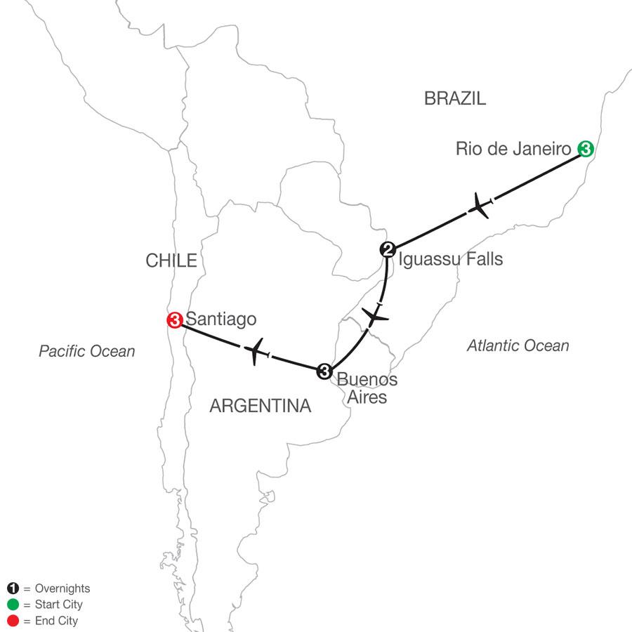 Brazil & Argentina Escape with Santiago map
