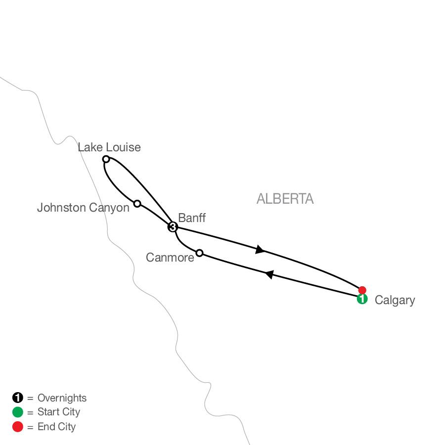 Canadian Rockies Escape map