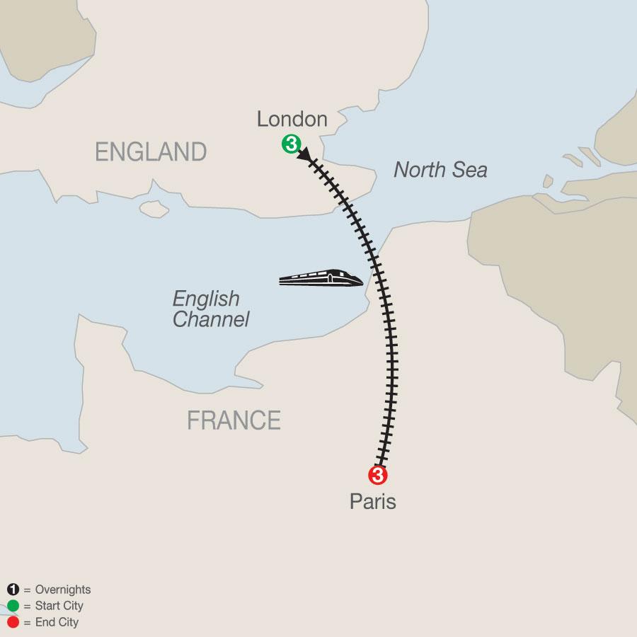 London & Paris Escape map