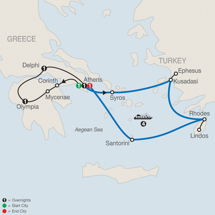 Highlights of Greece Escape plus 4-night Iconic Cruise map