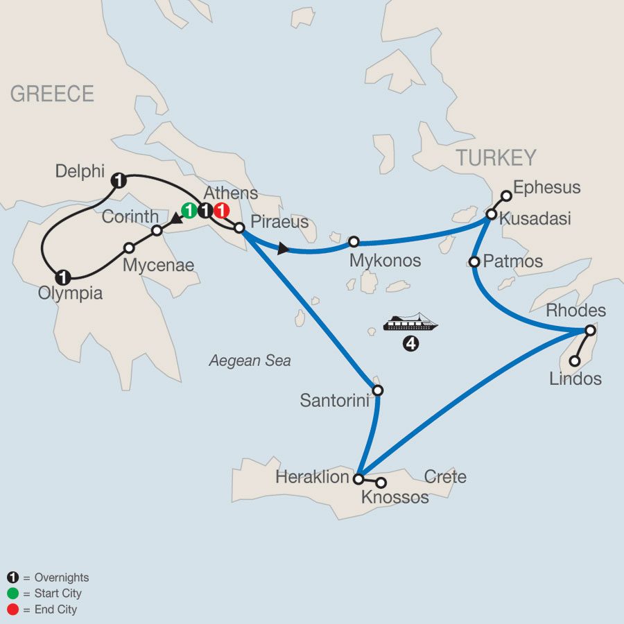 Highlights of Greece Escape plus 4-night Iconic Aegean Cruise map