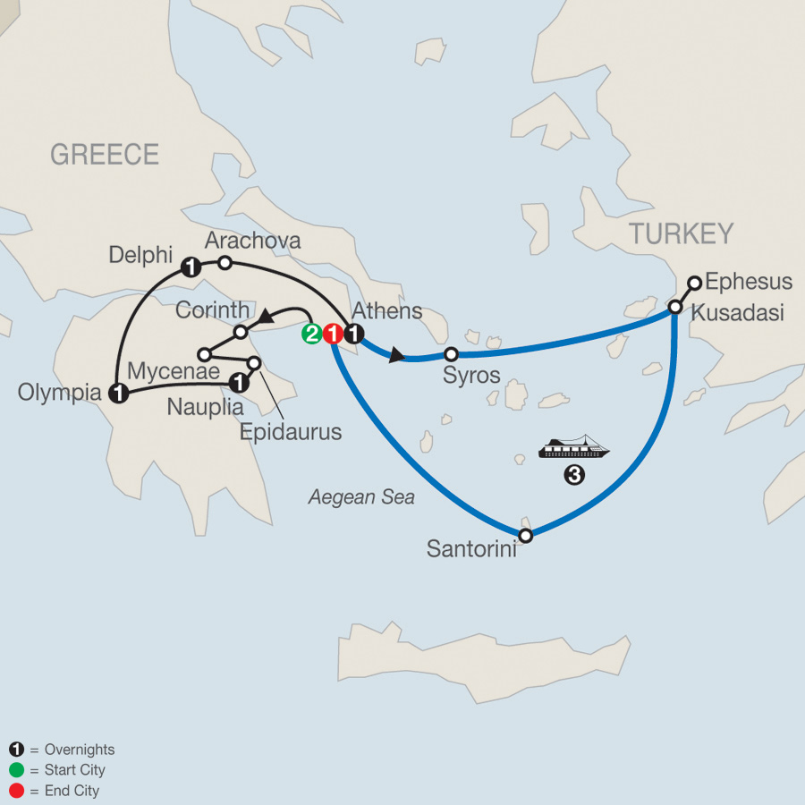 Greek Escape plus 3-night Iconic Aegean Cruise map