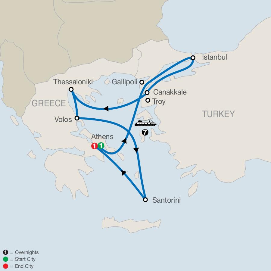 Athens Escape plus 7-night Eclectic Aegean Cruise map