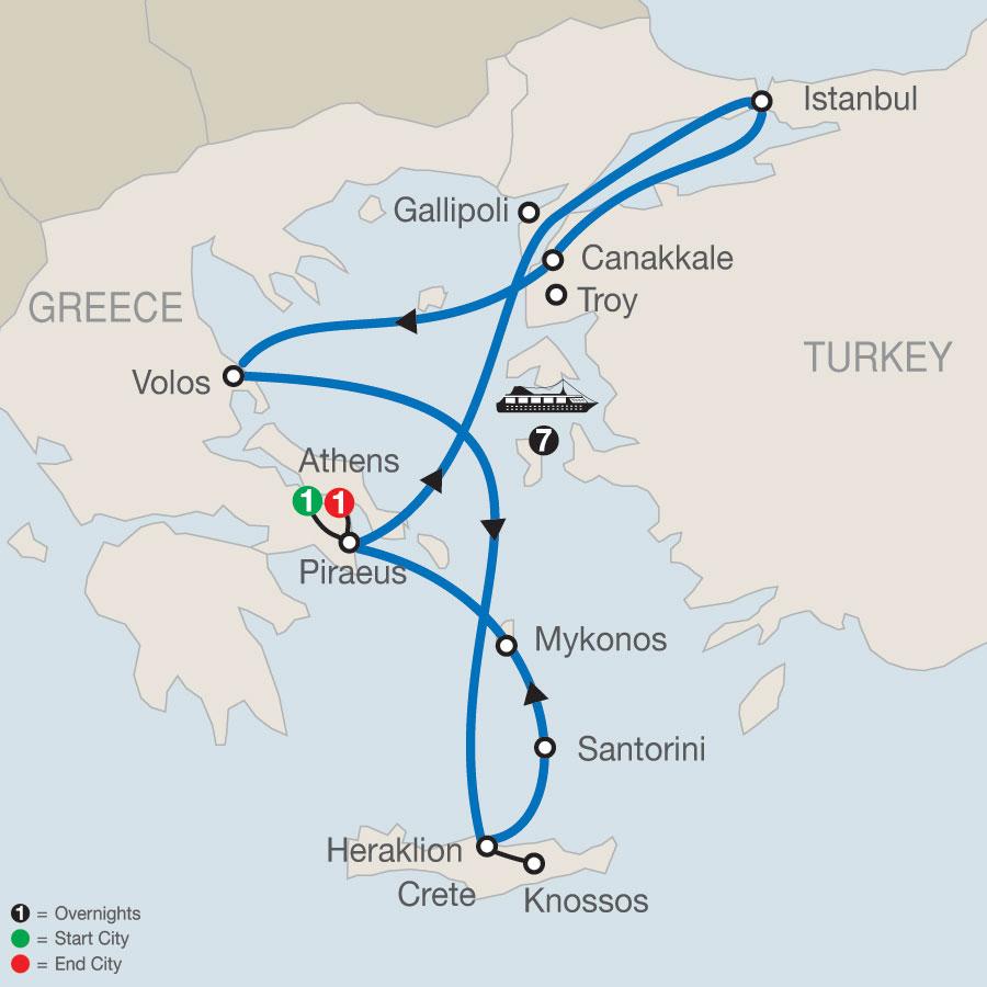 Athens Escape plus 7- night Eclectic Aegean cruise map