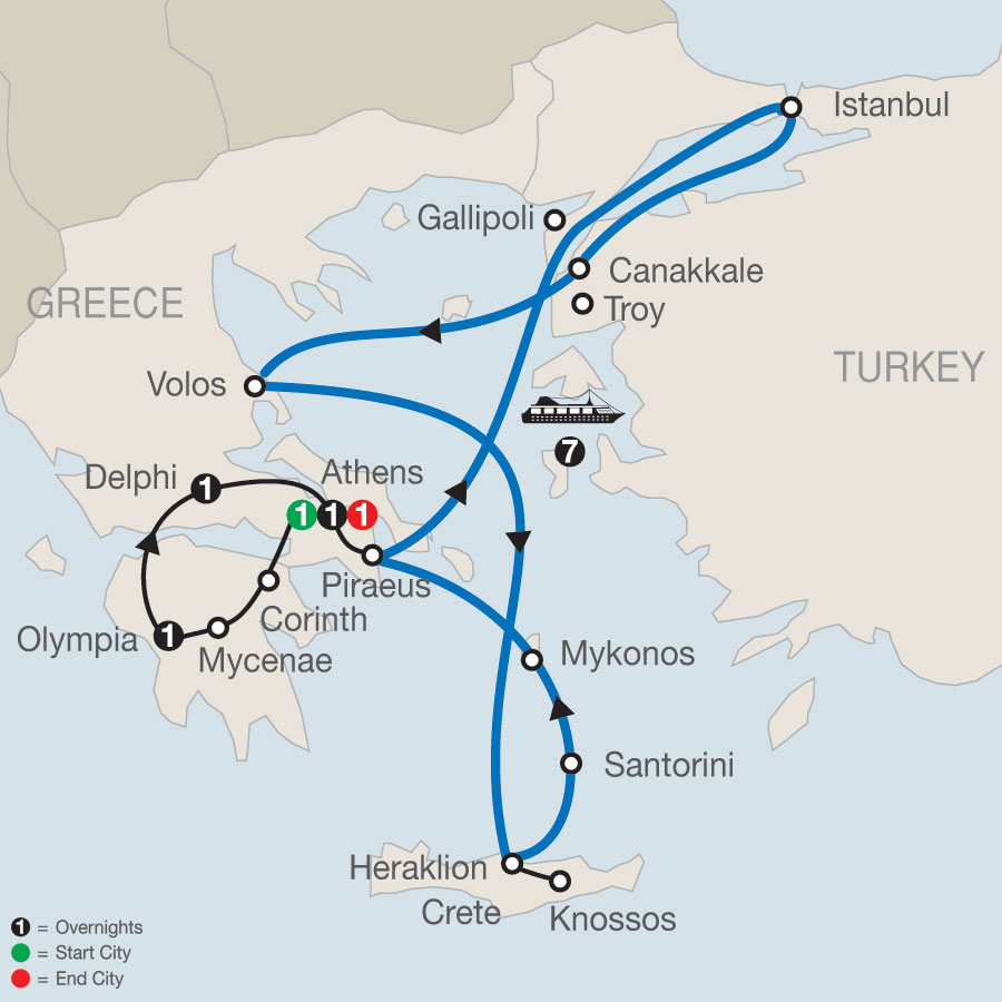 Highlights of Greece Escape plus 7-night Eclectic Aegean Cruise map